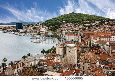 Split, Croatia. Town houses panoramic landscape view