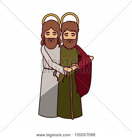 jesus and joseph cartoon icon. Holy night family christmas and betlehem theme. Isolated design. Vector illustration