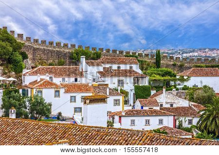 Old town houses and fortress Obidos, Portugal