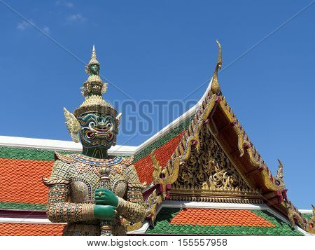 Giants Guardian in Bangkok's Grand Palace Temple Thailand