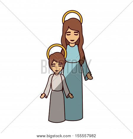Mary and jesus kid icon. Holy night family christmas and betlehem theme. Isolated design. Vector illustration