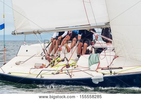 Boat Competitor Of Sailing Regatta.