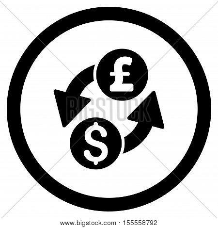 Dollar Pound Exchange rounded icon. Vector illustration style is flat iconic symbol, black color, white background.