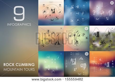rock climbing vector infographics with unfocused blurred background