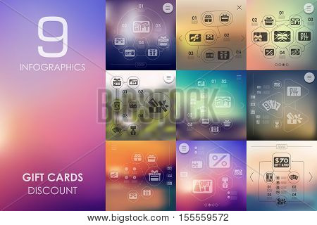 gift cards vector infographics with unfocused blurred background