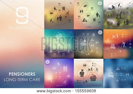 pensioners vector infographics with unfocused blurred background