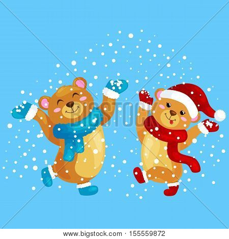 cute Christmas bears during the winter holidays and the New Year's Eve jump under snowfall rejoice gifts. bears in winter clothes warm mittens, scarves and boots hat dance for joy vector illustration