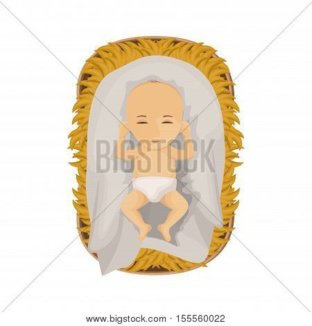 Jesus baby cartoon icon. Holy night family christmas and betlehem theme. Isolated design. Vector illustration