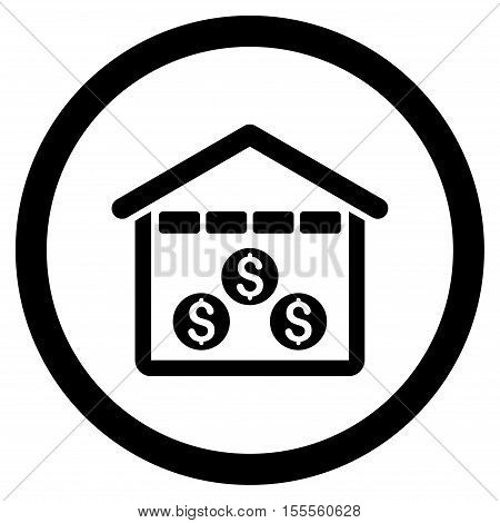 Money Depository rounded icon. Vector illustration style is flat iconic symbol, black color, white background.