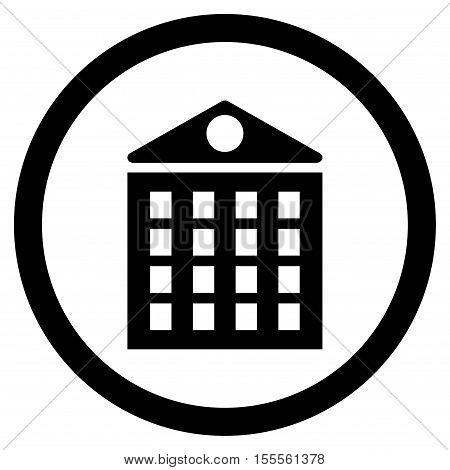 Multi-Storey House rounded icon. Vector illustration style is flat iconic symbol, black color, white background.