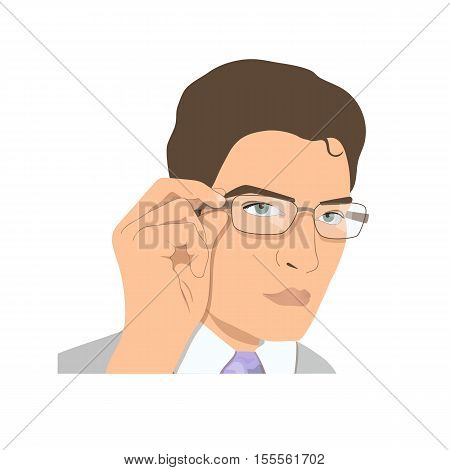 Face of a young man in glasses. Businessman rearranging spectacles.