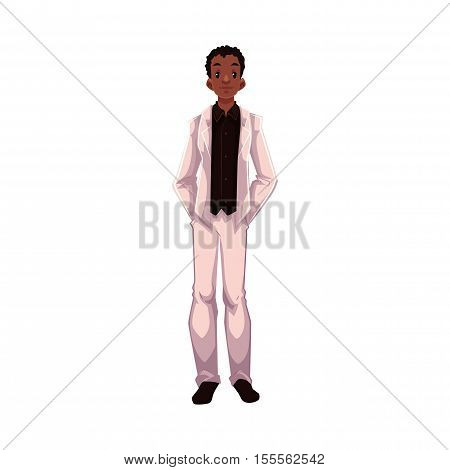 African American groom, fiance, just married man, cartoon vector illustration isolated on white background. Black groom in fashionable clothing getting married