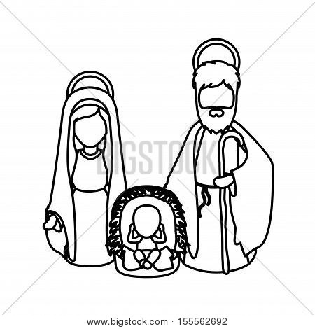 Mary joseph and baby jesus icon. Holy night family christmas and betlehem theme. Isolated design. Vector illustration