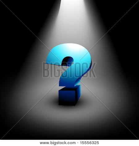 vector 3d question mark standing under focus light