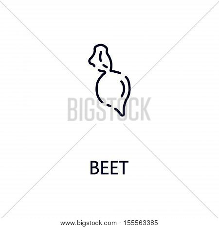 Beet flat icon. Single high quality outline symbol of vegetable for web design or mobile app. Thin line signs of beet for design logo, visit card, etc. Outline pictogram of beet.