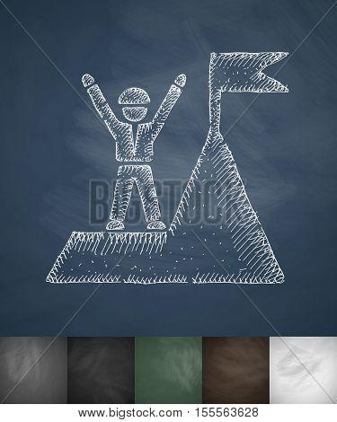 alpinist box at the top icon. Hand drawn vector illustration. Chalkboard Design