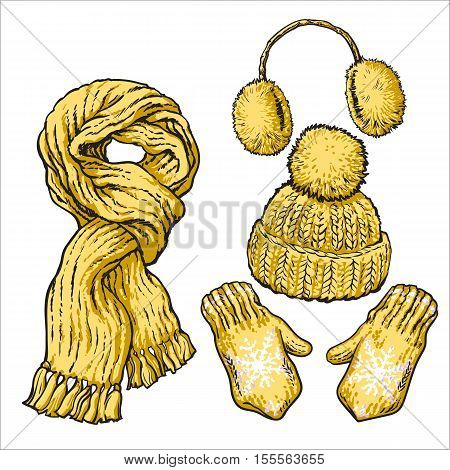 Set of bright yellow knotted scarf, hat, ear muffs and mittens, sketch style vector illustrations isolated on white background. Hand drawn woolen scarf, hat with a pompom, mittens and ear warmers