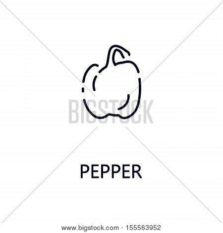 Pepper flat icon. Single high quality outline symbol of vegetable for web design or mobile app. Thin line signs of pepper for design logo, visit card, etc. Outline pictogram of pepper.