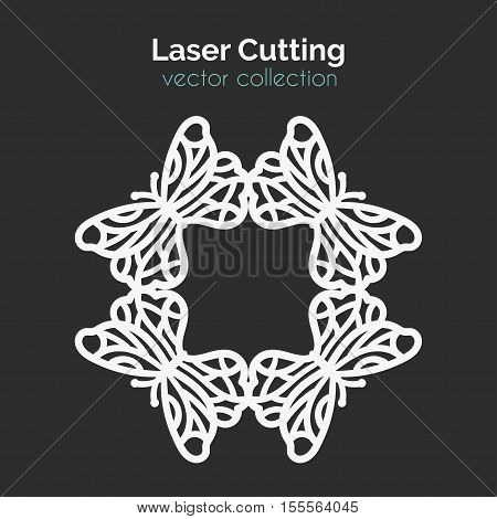 Laser Cutting Template With Butterflies. Card With Frame. Die Cut Mangala. Cutout Illustration With Ornamental Lace Decoration For Wedding Invitation Cards. Vector Design.