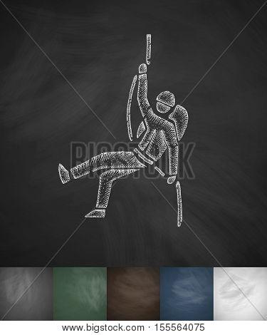 alpinist icon. Hand drawn vector illustration. Chalkboard Design