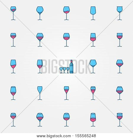 Colorful wine glasses icons. Vector set of creative different glass shapes symbols or signs