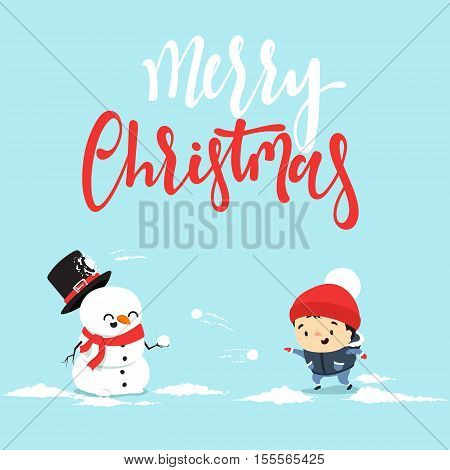 Snowman cartoon character playing snowball fight with the little boy. Cheerful snowman and boy Christmas mood. Cute winter characters in flat style. Character Christmas greeting cards and web banners