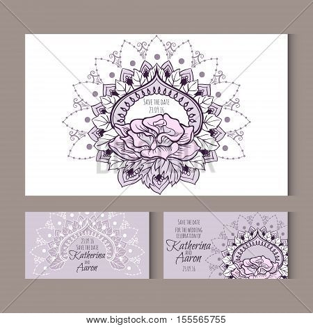 Set of invitation wedding cards with place for text. Vector illustration.