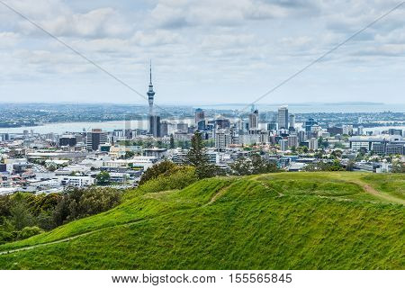 Auckland skyline looking from the top of Mount Eden