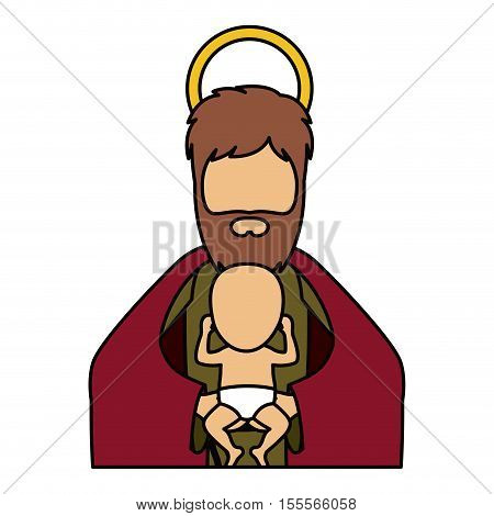 Joseph and baby jesus cartoon icon. Holy night family christmas and betlehem theme. Isolated design. Vector illustration