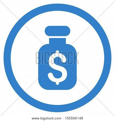 Business Remedy rounded icon. Vector illustration style is flat iconic symbol, cobalt color, white background.