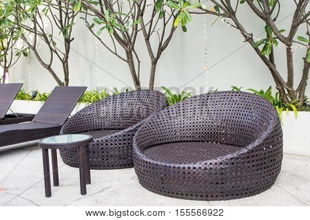 Weave daybeds at the resort outdoor garden