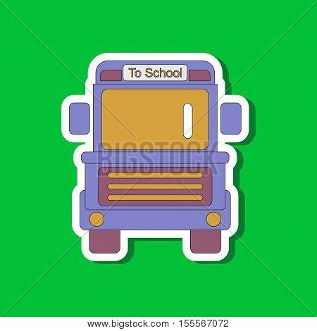 paper sticker on stylish background of school bus