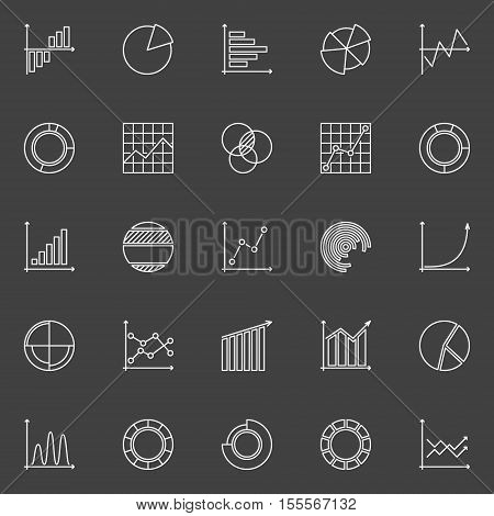 Business chart and graph linear icons. Vector set of diagrams and chart creative outline symbols on dark background