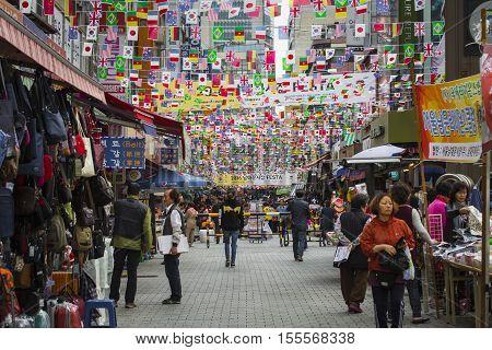 Seoul - October 21, 2016: Namdaemun Market In Seoul. Namdaemun Market Is A Large Traditional Market