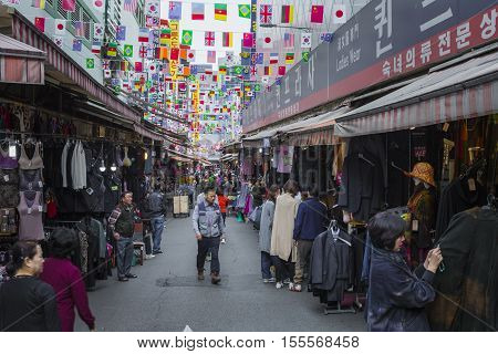 Seoul - October 21, 2016: Namdaemun Market In Seoul. Namdaemun Market Is A Large Traditional Market