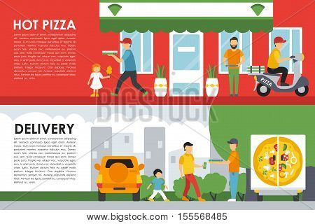 Hot Pizza and Delivery flat  concept web vector illustration. Deliveryman, People, Car,  Scooter, Children. Pizzeria Restaurant interior presentation.