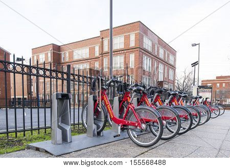 USA Wasington DC - Capital Bikeshare (also abbreviated CaBi) is a bicycle sharing system. Photo taken 01/10/16