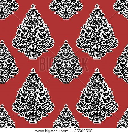 Christmas seamless pattern with letterpress holiday Scandinavian folk style trees. Vector illustration. Happy New year.