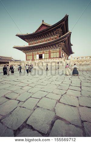 Seoul - October 21, 2016: Gyeongbokgung Palace In Seoul, Korea
