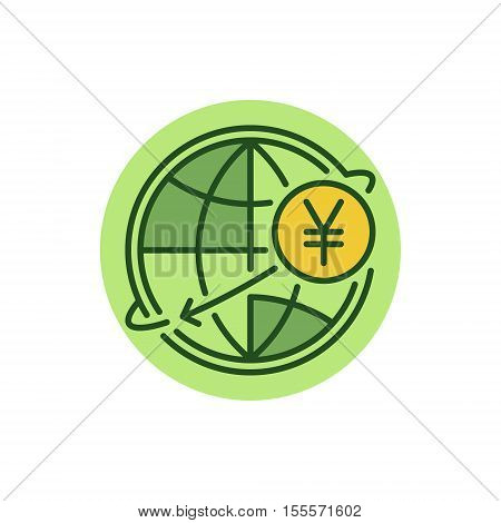 Yen international money transfer flat icon. JPY currency concept symbol. Yen with globe colorful sign or logo element