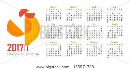 Vector calendar for 2017. Illustration of Red Rooster symbol of 2017 on the Chinese calendar. Silhouette of decorated with floral patterns. Place for text. Template with week starts Sunday