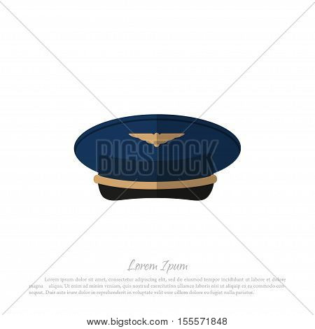 Headdress civil aircraft pilots. Drawing in a flat style on a white background. Vector illustration