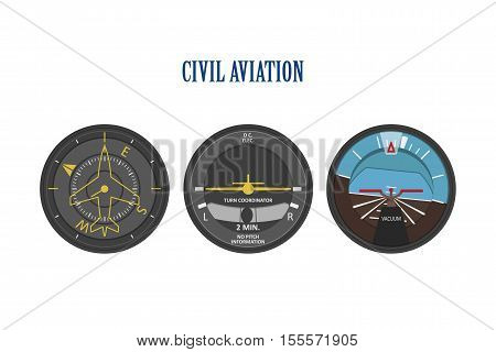 Control indicators of aircraft and helicopters. The instrument panel in a flat style on a white background. Vector illustration