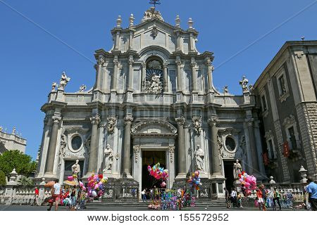 A beautiful view of Catania Cathedral, ITALIA.