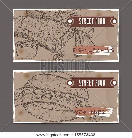 Set of two landscape banners with fish, chips and bratwurst on grunge background. British and German cuisine. Street food series. Great for market, restaurant, cafe, food label design.