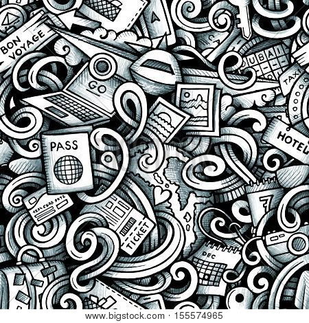 Cartoon trace doodles Travel season seamless pattern. Graphics detailed, with lots of objects background. Endless vector illustration
