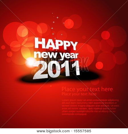 vector new year shiny background on red