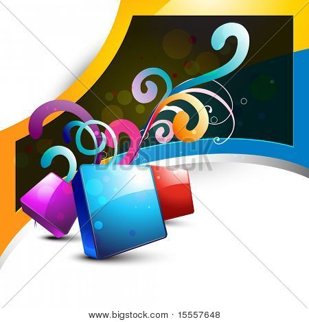 vector abstract shape design art with floral coming out