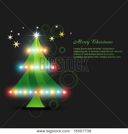 vector glowing christmas tree design poster