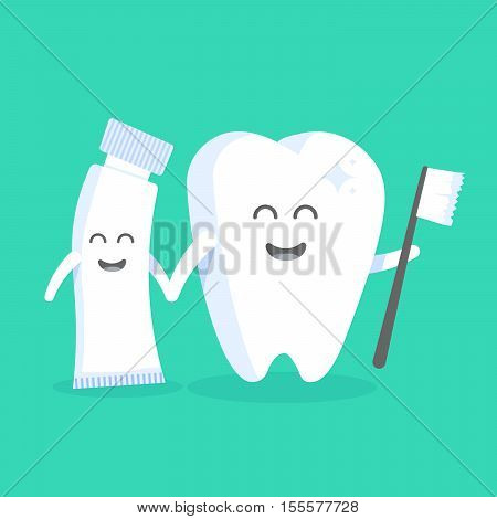 Cute cartoon tooth character with face eyes and hands. The concept for the personage of clinics dentists posters signage web sites.